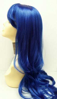 Long 26 inch Straight Sapphire Blue Wig. Cosplay Wig. Scene Wig. Festival Wig. Straight with Bangs and Wavy at Ends. by ParamountWigs on Etsy