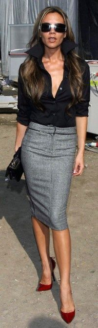 Victoria Beckham in a grey pencil skirt and black blouse - blouses, tops, satin, skirt, satin, boat neck blouse *ad