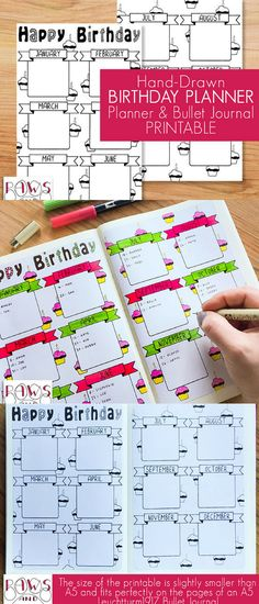 Printable Birthday Planner. Keep all important birthdays and anniversaries of your family and friends in one place. With this two-page planner insert or bullet journal insert you will most likely never forget an important date again. #birthdays #ad #planner #bujo #printable