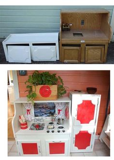 Kid size kitchens made out of old furniture.