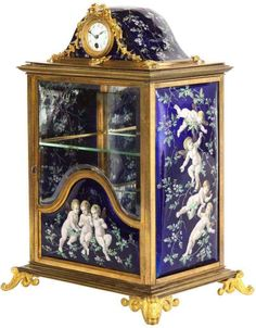 A French Bronze and Limoges Enamel Jewelry Vitrine Cabinet with Clock Ruby Lane, Mayfair, Clocks For Sale, Blue Topaz Diamond, Enamel Jewelry, Antique Jewelry, Vintage Jewelry, London Blue Topaz, Cup And Saucer Set