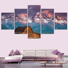 Bamboo House Before The Snow Mountain - 5 Piece Canvas  #prints #printable #painting #empireprints #teepeat