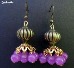 Pinkish_Purple_Antique_Golden_Jhumka