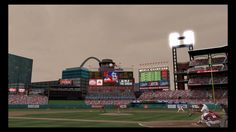 Pretty cool screenshot here.  MLB 12: The Show (PS3)  Jon Jay with Busch Stadium backdrop at twilight.