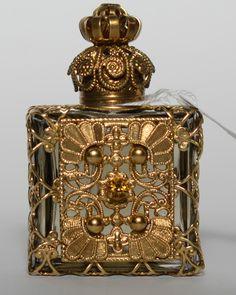 Vintage Czech Handmade Filigree Perfume Oil Bottle Bronze Gilded Jeweled | eBay