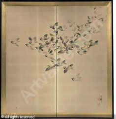 MEIJI PERIOD - A JAPANESE TWO LEAF SCREEN DEPICTING A FLIGHT OF SPARROWS