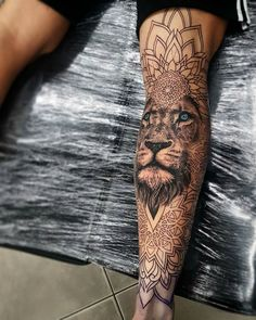 Tattoos, man leg tattoo, calf sleeve tattoo, animal mandala tattoo, men a.