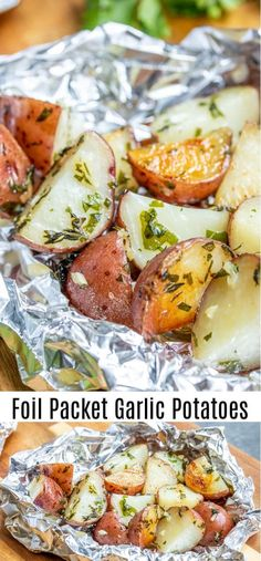 These easy Foil Packet Garlic Potatoes are cooked on the grill or in the oven with lots garlic and herbs for a perfectly tender roasted potatoes recipe packed with flavor. Make them as a side with your grilled steak or serve them along with roasted chicke Grilled Chicken Sides, Grilled Side Dishes, Steak Side Dishes, Side Dishes For Chicken, Potato Side Dishes, Grilled Vegetables, Roasted Chicken, Chicken On The Grill, Veggies On Grill