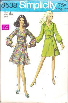 Vintage Sewing Pattern 1960s Wrap Dress Simplicity by TenderLane, $12.00