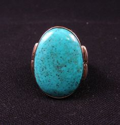 Orville Tsinnie Navajo Kingman Turquoise 14k Gold Silver Ring Sz8-1/2 | eBay