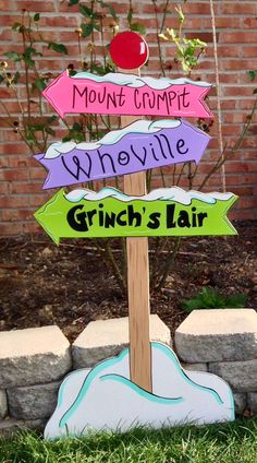 Grinch yard art.whoville yard artwhoville sign by PlayfulYardArt