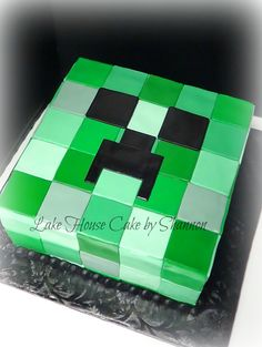 Creeper Minecraft Mine Craft Green Digital Boy Birthday Cake Lake House Cake by Shannon Panama City, FL
