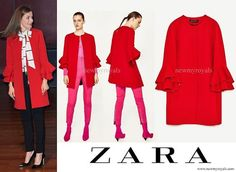 Queen Letizia wore a Zara Frilled Sleeve Coat newmyroyals.com