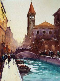 Joseph Zbukvic   Venice, watercolor