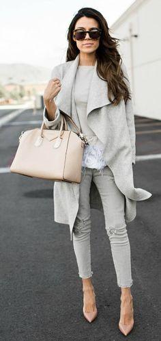 Christine Andrew + effortlessly stylish + grey on grey + wrap coat + grey skinnies + cute fringe detailed top + colour scheme is ideal + everyday neutral wear!   Top/Jeans: Nordstrom. #fashionaccessoriesjewelrywomens
