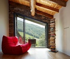 Mas La Riba    By Ferran López Roca Arquitectura. I love how the angle of the window follows the angle of the landscape beyond...