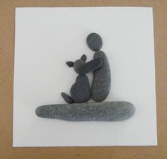 """From my love for beachcoming, I make collages from the pebbles, shell bits and sea glass I find on the Kennebunk Beach in Maine. No two are alike. Here I have created a dog with its """"parent"""", availabl(Best Gifts For Parents) Stone Crafts, Rock Crafts, Arts And Crafts, Pebble Pictures, Rock And Pebbles, Sea Glass Art, Beach Crafts, Shell Art, Driftwood Art"""