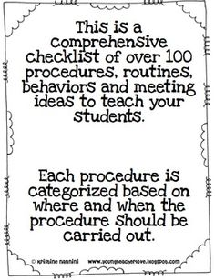 Classroom Procedures to Teach {Back to School Classroom Management Tool} - Miss Nannini - TeachersPayTeachers.com