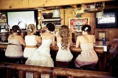 A bride waits in the Rustler's Rooste Mountain Top Saloon.