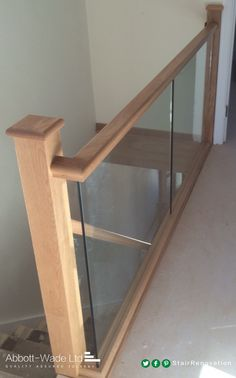 Abbott-Wade oak staircase with inline glass balustrade waiting for carpet. Stair Railing Parts, Wood Railings For Stairs, Stair Banister, New Staircase, Oak Stairs, Staircase Remodel, House Stairs, Staircase Design, Banister Ideas
