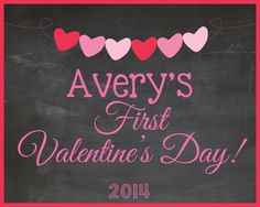 Baby's First Valentine's Day Photo Prop Sign Printable, 8x10 Digital File, chalkboard theme