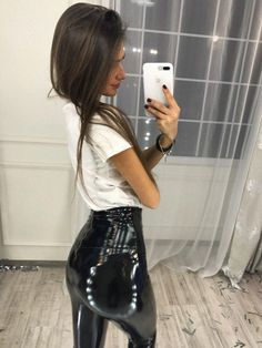 Black Zipper High Waisted Fashion PU Leather Latex Bodycon Party Long Leggings - Leggings - Bottoms Pvc Leggings, Leather Leggings Outfit, Vinyl Leggings, Leggings Fashion, Fashion Pants, Latex Pants, Latex Dress, Leather Fashion, Pu Leather