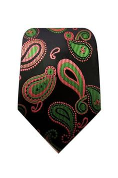 BEAUTIFUL BLACK, 100% SILK WOVEN TIE WITH PINK AND GREEN PAISLEY DESIGN.  AVAILABLE FOR PURCHASE AT – StylesByKutty.COM