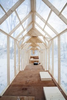 """Fragile Shelter, designed by Hidemi Nishida, is a temporary shelter in the wild winter forest in Japan. This shelter leads people to gather together, and take part in a number of events and activities within the shelter."""
