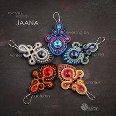 Soutache earrings - JAANA collection 2017 #soutache #soutacheearrings #handmade #handmadejewelry #mosca #earrings #colorfulearrings