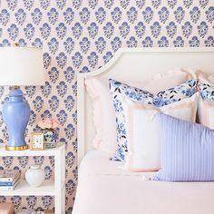 Blue And Pink Bedroom, Blue Girls Rooms, Little Girl Rooms, Preppy Bedroom, Bedroom Decor, Bedroom Ideas, Master Bedroom, Blue Wallpaper Bedroom, Blush Wallpaper