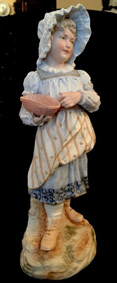 "Antique German Gebruder Heubach  Bisque  Figurine Piano Baby Girl Doll 14"" #Victorian #GebruderHeubach"