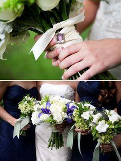 mini frame on the bouquet, navy bridesmaids dresses