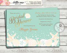 Beach bridal shower invitation seashells bridal shower invitation beach bridal shower invitation wedding shower by littlerosestudio filmwisefo