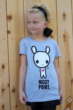 """The front of the new """"Moot Point"""" 2-Sided Tee, part of the latest Lolligag Kids collection. Scoop it up now at boutiques in Los Angeles, including Toy Art Gallery, Q POP, Happy Six and Fred Segal. Available in kids sizes 7/8 and 10/12. Available soon at LolligagWorld.com!"""