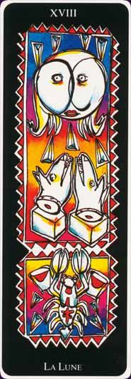 From the unusually tall, slender Tarots Oreste Zevola deck. I'd love to see this deck in person. Published by Grimaud.