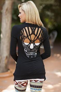 Modern Vintage Boutique - Skull Back Cardigan Black, $38.00 (http://www.modernvintageboutique.com/skull-back-cardigan-black.html)