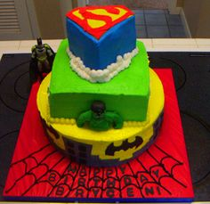 so if anyone hasnt noticed i am doing a superhero party for leland this year. Superhero Cake, Superhero Birthday Party, Boy Birthday Parties, Birthday Ideas, Cake Birthday, Disney Princess Birthday Cakes, Cake Tutorial, Cake Creations, Tiered Cakes