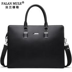 78.00$  Buy here - http://ali9df.worldwells.pw/go.php?t=32781646933 - FALAN MULE Fashion Genuine Leather Men Bag Famous Brand  Men Shoulder Bag Messenger Bags Causal Handbag Laptop Briefcase Male 78.00$