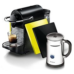 Pixie Aeroccino Plus Bundle Automatic Espresso Maker with Thermoblock Heating Element and Programmable Coffee Volume Settings