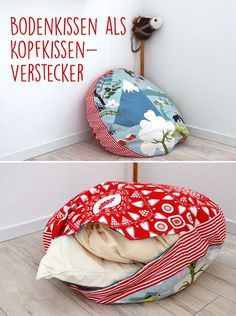 Sewing idea: Floor cushions as pillow storage : Floor cushion sewn as Kopfkissenverstecker even made of decorative fabrics Large Floor Cushions, Floor Pillows, Sewing Projects For Beginners, Diy Projects, Project Ideas, Pillow Storage, Diy Couture, Kallax, Sewing Patterns Free