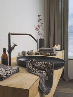 Handtuch Ornament Leitner Leinen, schwarz/beige