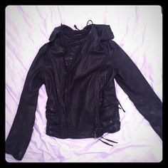 All Saints Asquith Leather Moto Jacket Size 8 NO TRADES. OFFERS WELCOME. Black leather with hood. Size 8. Snaps at waist. Like new! Great biker style jacket with an edge. No marks or scratches. All Saints Jackets & Coats