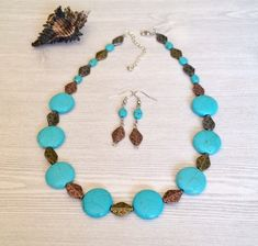 Available in my #etsy shop: Turquoise Necklace Set http://etsy.me/2CrdaSs #handmade #turquoise #beaded #jewelry #necklace #jewelryset #necklaceearrings #mothersdaygifts #mothersday #giftsformom #giftsforher #summerjewelry #bohojewelry #bohochic #bohostyle