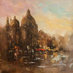 We present: Miasto na wodzie - Marek Langowski. One of the many paintings by Marek Langowski. Painting Gallery, Modern Landscaping, Impressionism, Landscape, Canvas, Artist, Paintings, Self, Tela