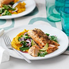 Lemon pepper salmon with pumpkin and chickpea puree Recipe   Weight Watchers AU
