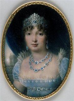 Portrait de Caroline Murat (1792-1839), reine de Naples   Auteur :Jean Baptiste Isabey (1767-1855)    Miniature (peinture), miniature sur ivoire