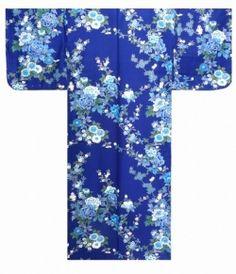 "Ladies' KIMONO ""BOTANZAKURA"" -- peony & cherry blossom -- Length 56 in"