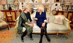 Camilla meets Princess Laurentien in the morning room at Clarence House [AP]