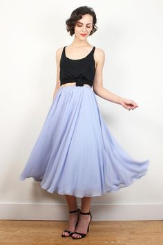 Vintage 70s Midi Skirt Pastel Lilac Lavender by ShopTwitchVintage