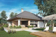 Projekt domu Morgan III 107,05 m2 - koszt budowy - EXTRADOM Dream House Plans, Atrium, Facade, Gazebo, Outdoor Structures, Studio, Outdoor Decor, Home Decor, Projects